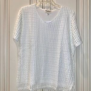 New Norm Thompson True White Knit Top Shirt Blouse